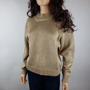 Vintage Lord &Taylor Gold Metallic Holiday Sweater